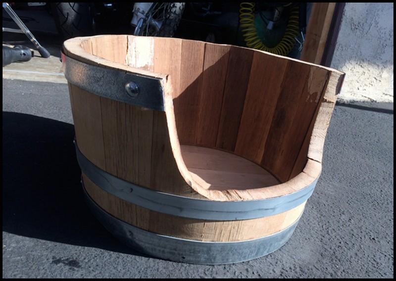 DIY Wine BarrDIY Wine Barrel Dog Bed - Drilled through the hoopel Dog Bedel Dog Bed