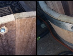 DIY Wine Barrel Dog Bed - Drilled through the hoop