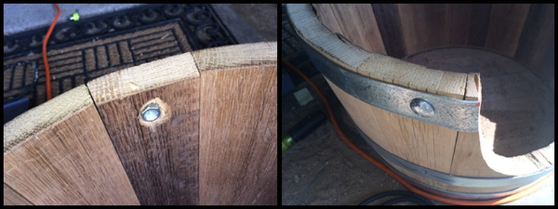 DIY Wine Barrel Dog Bed - Drilled through the hoop