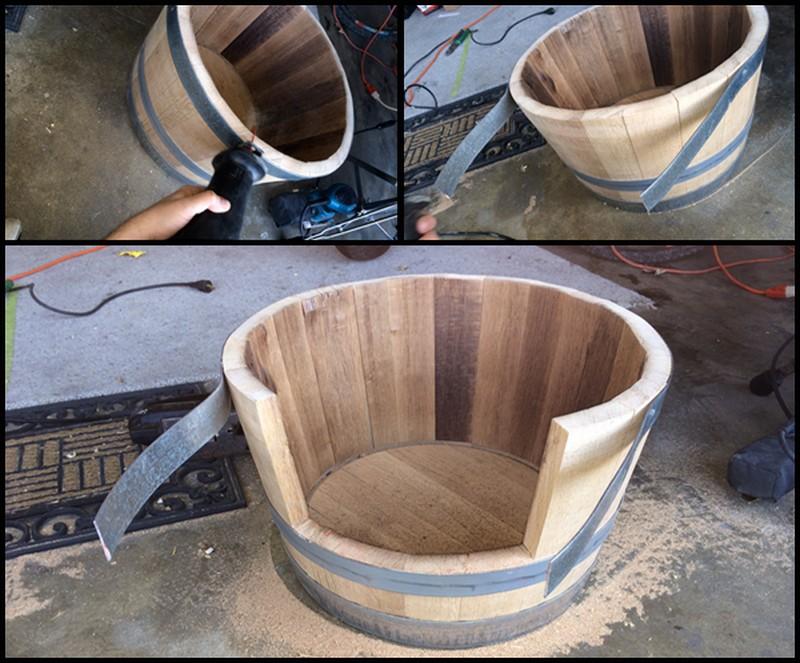 DIY Wine Barrel Dog Bed - Sanding