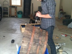DIY Wine Barrel Dog Bed - Drilling