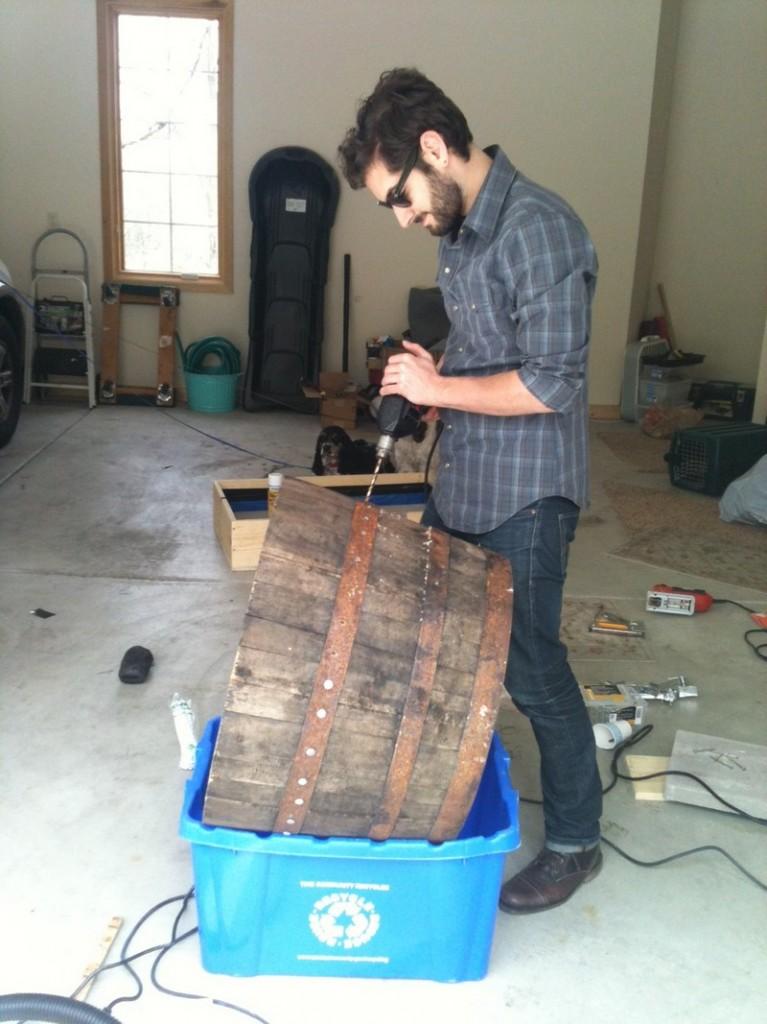 DIY Wine Barrel Dog Bed - Drilling