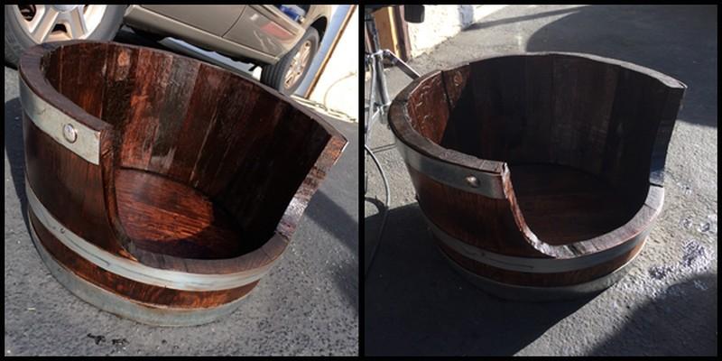 DIY Wine Barrel Dog Bed - Staining
