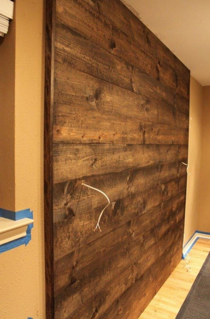 DIY Wood Wall Accent - Stain the wall