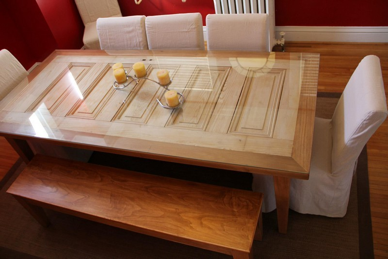 repurposed door dining table
