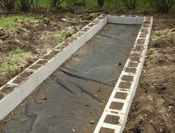 DIY Cinder Block Raised Garden Bed - Done first layer