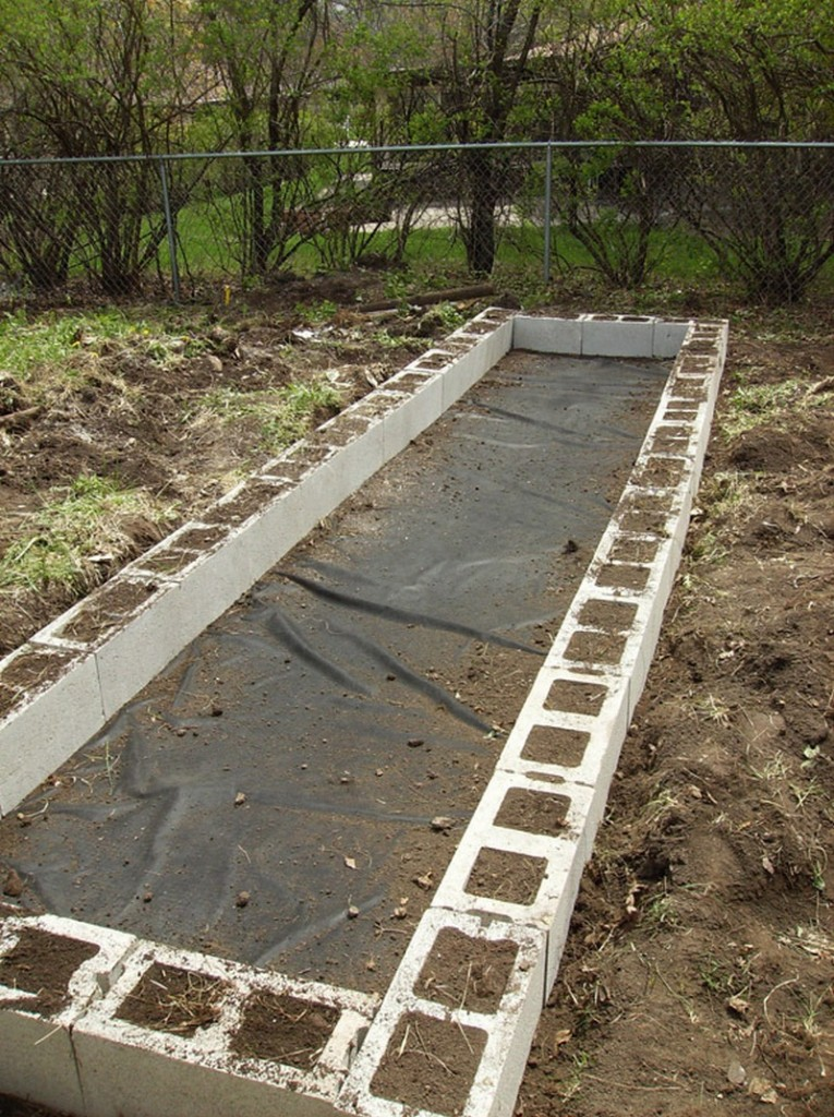 DIY Cinder Block Raised Garden Bed - Done first layer