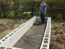 DIY Cinder Block Raised Garden Bed - Second layer