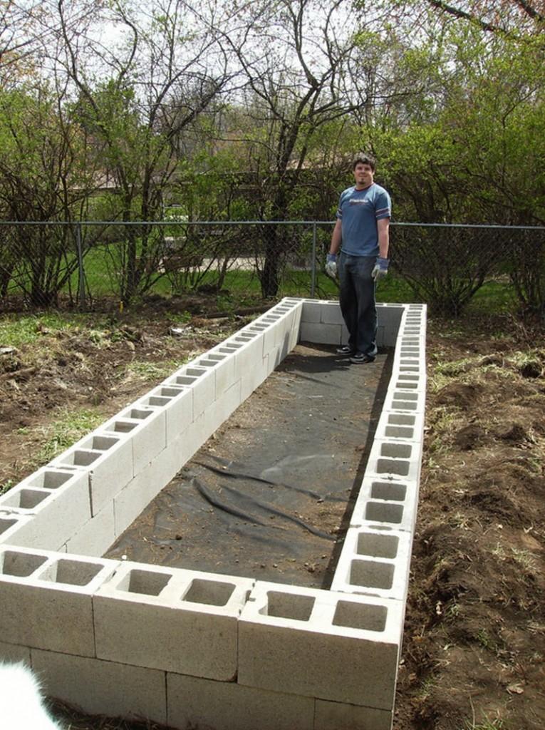 DIY Cinder Block Raised Garden Bed - Second layer