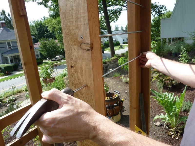 DIY Arbor Trellis - Apply hammer liberally