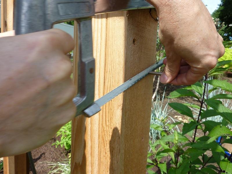 DIY Arbor Trellis - Saw off excess