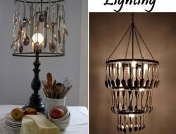 Repurposed Cutlery - Silverware Lamp