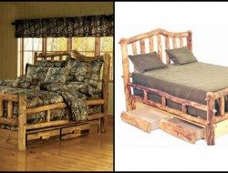 Log Bed With Under Dresser - Log Cabin Rustics