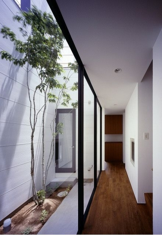 A courtyard can be used to provide lighting in otherwise dark areas