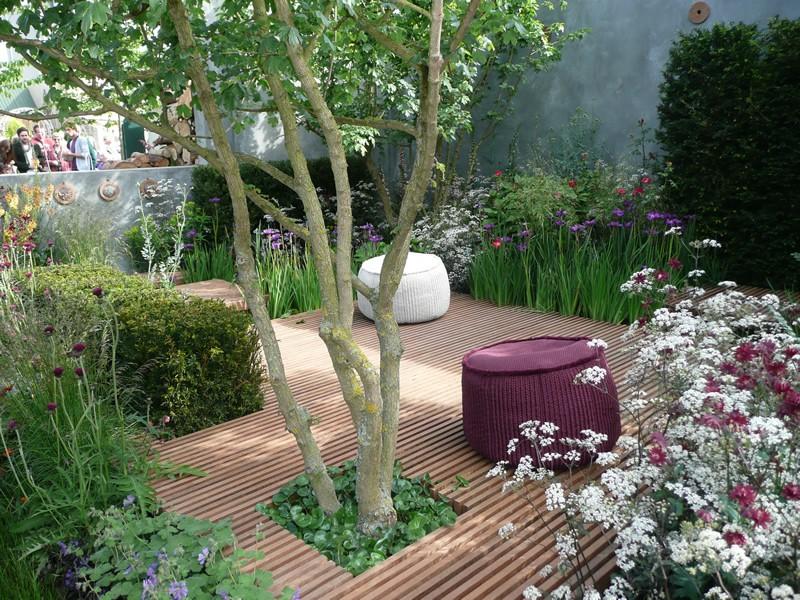 Garden courtyard with deck.