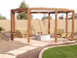Gas Fire Pit with Gazebo and Swings - Arizona Living