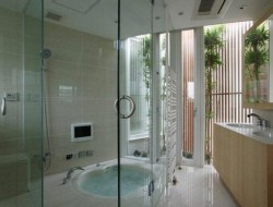 Japanese Courtyard Architecture - bathroom screening