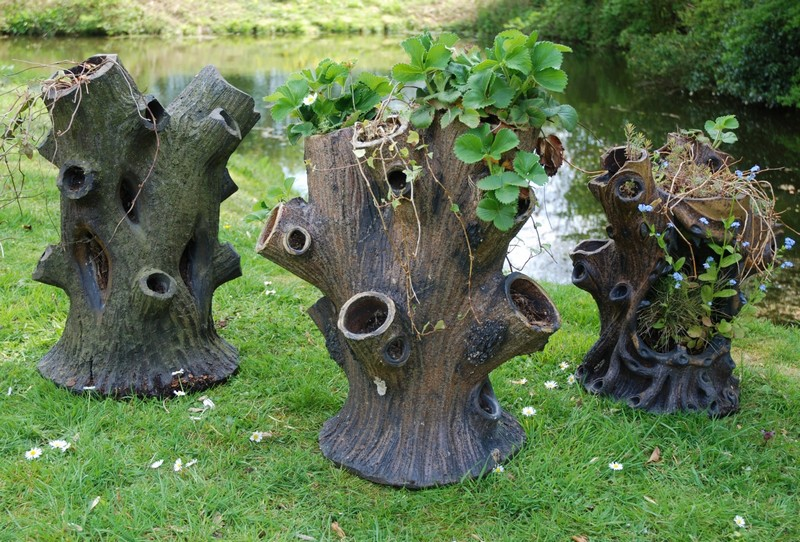 Salt Glaze Tree Stump Planters - LVS Decorative Arts