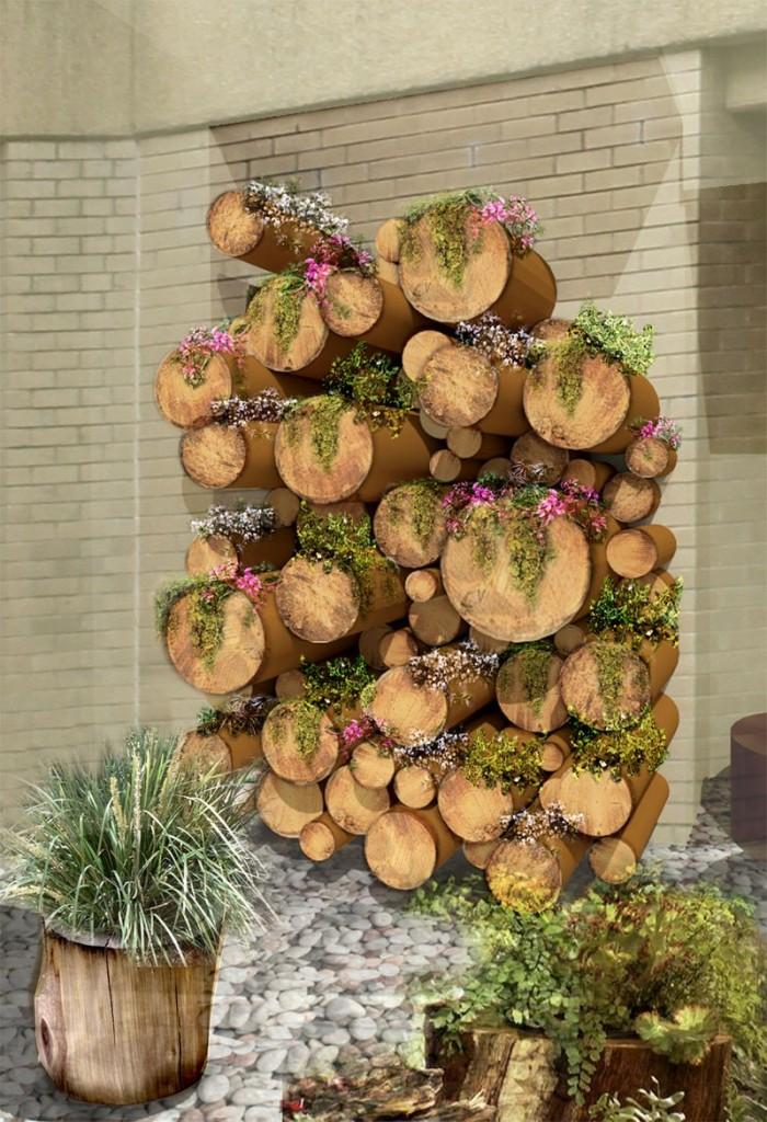 Log Planter Green Wall - Southern Health Healing Garden