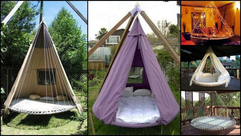 SwingBedMadeFromRecycledTr&oline & Swing Bed Made From Recycled Trampoline | DIY Trampoline Bed