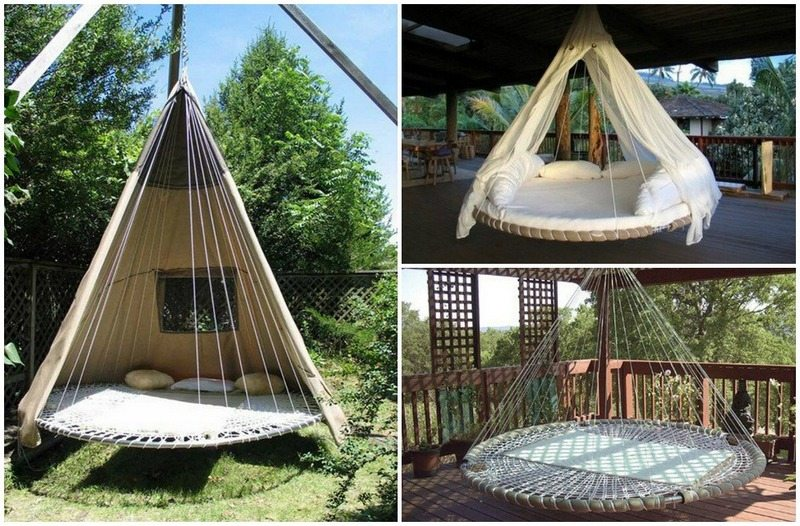 Medium image of turn your broken trampoline into a circular swing bed