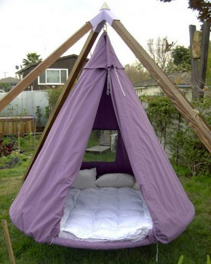 Camping Chair With Shade Canopy Swing Bed Made From Recycled Trampoline