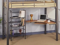 Great Loft Bed Ideas with Computer Desk and Open Racks - ArtHub