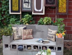 DIY Cinder Block Outdoor Loveseat - B Organic
