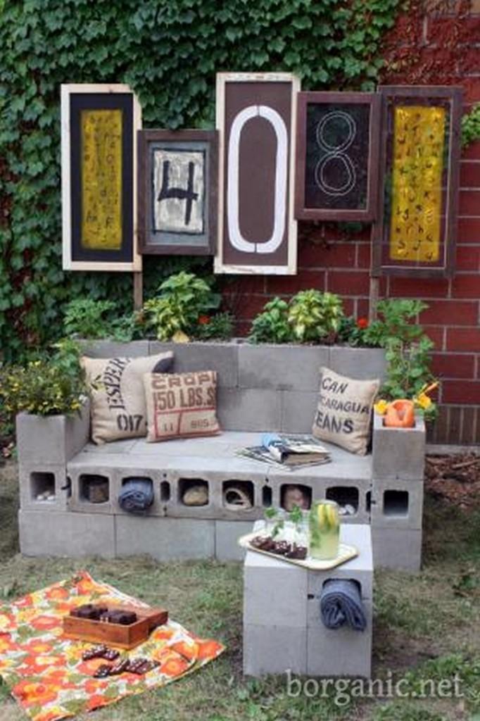 DIY Cinder Block Outdoor Loveseat - B Organic