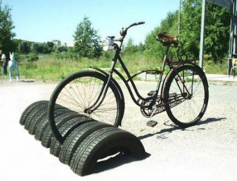 Half Buried Bike Tires - Repurposed Goods!