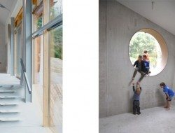 The concrete walls create thermal mass