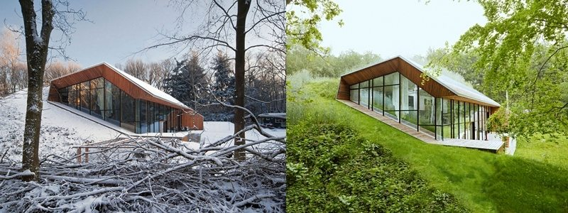 The earth blankets the home, providing insulation in all seasons