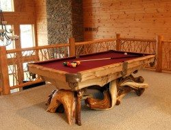 A log pool table from Woodland Creek Furniture