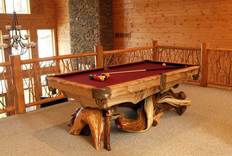 A Log Pool Table From Woodland Creek Furniture The Owner Builder