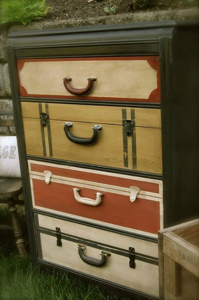 Dresser Makeover with Faux Suitcase Drawers