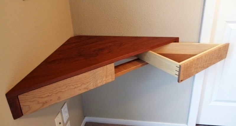 Floating Corner Shelf With Drawers