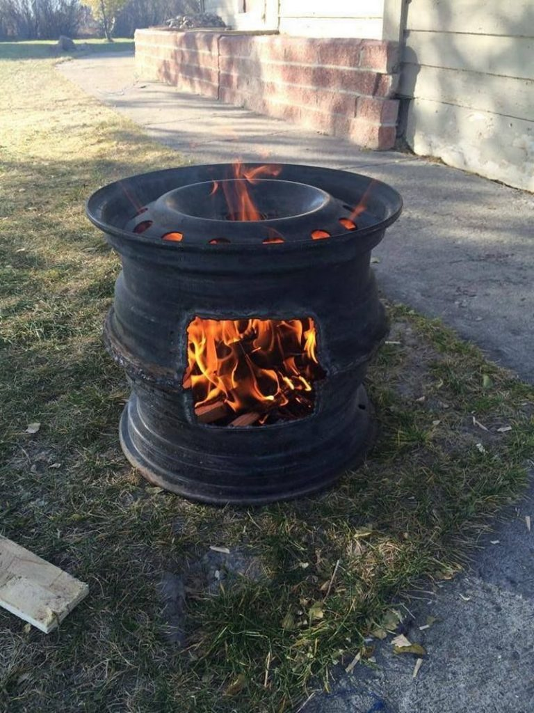 Recycled rim bbq fire pit the owner builder network for Fireplace and bbq