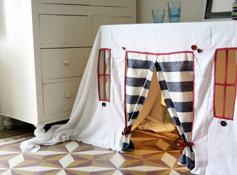 Striped Spring Playhouse Tablecloth