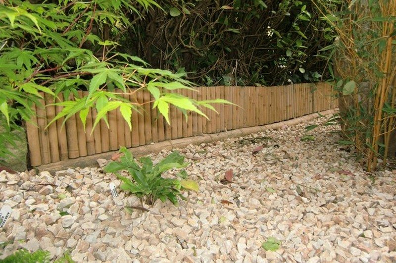 Rolled bamboo garden edging