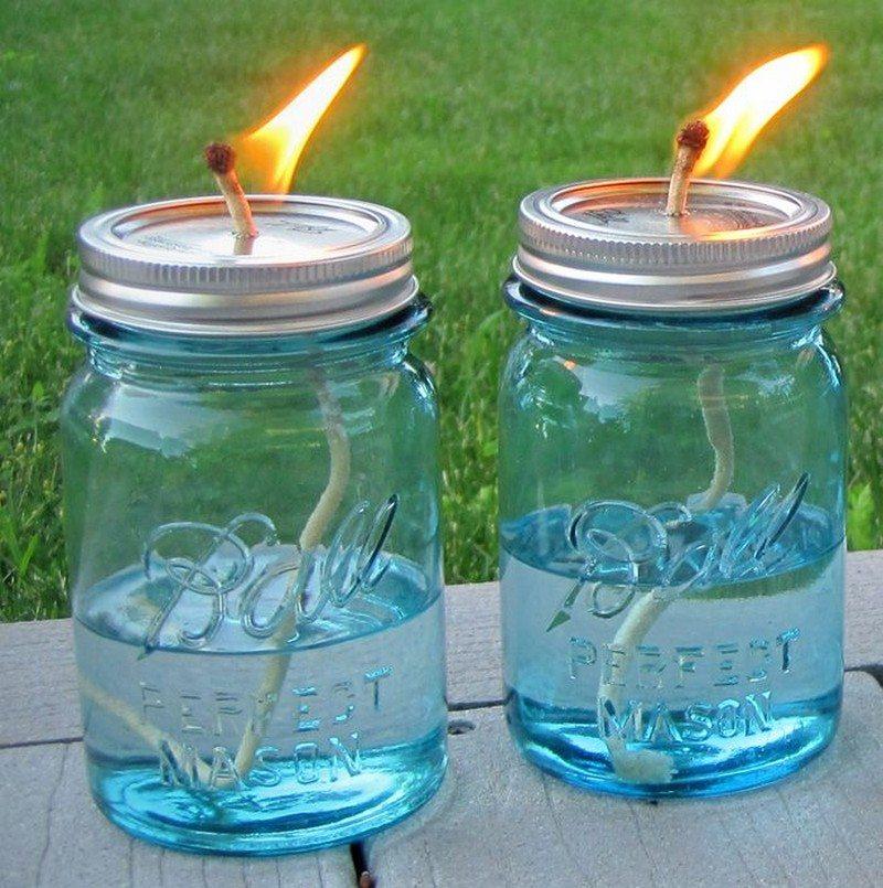 DIY Mason Jar Citronella Oil Candles