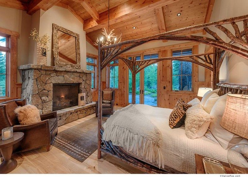 Dark Wood Log Canopy Bed & Warm and inviting rustic log beds | Rustic Log Beds Canopy Bed