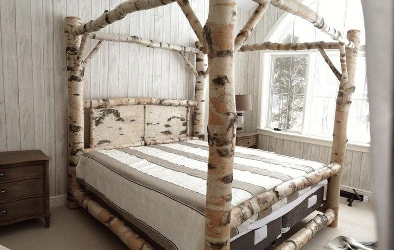 Birch Log Canopy Bed - Warm And Inviting Rustic Log Beds