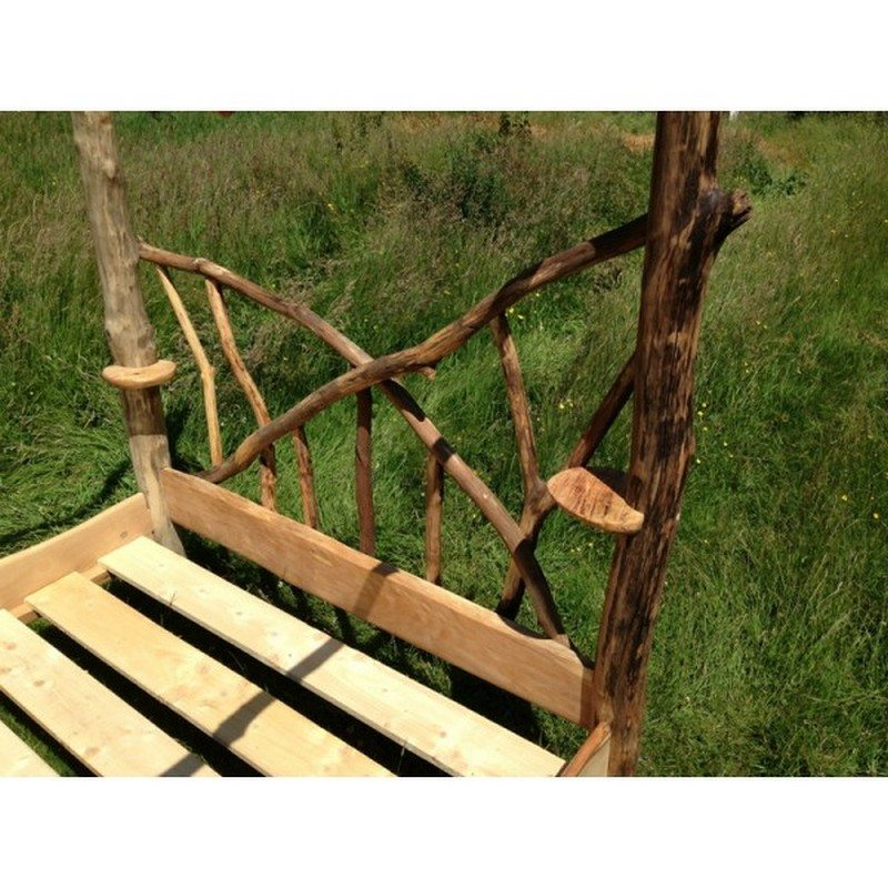 Driftwood Four Poster Canopy Bed. Warm and inviting rustic log beds