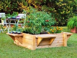 Raised Garden Bed with Benches
