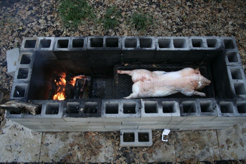 Build a Cinder Block Pit Smoker For $250 – The Owner-Builder ... on homemade brick bbq pits, cement block smoker, homemade fire pit, cinder block grill and smoker, brick block smoker, cinder block pig smoker,