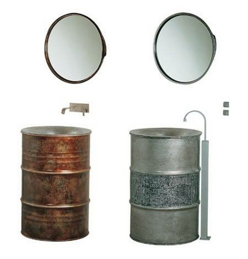 55 gallon metal drum project ideas the owner builder network for Recycled bathroom sinks