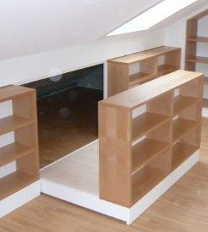 clever attic storage ideas the owner builder network. Black Bedroom Furniture Sets. Home Design Ideas