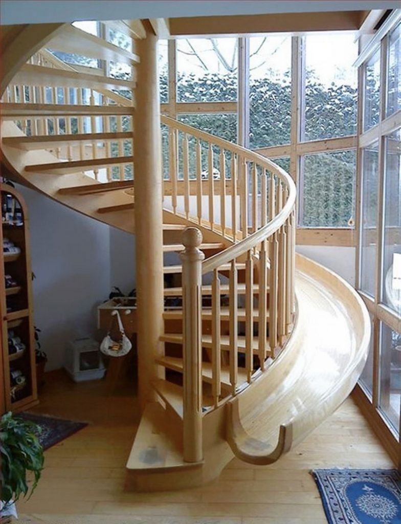 Awesome stairs with slides!