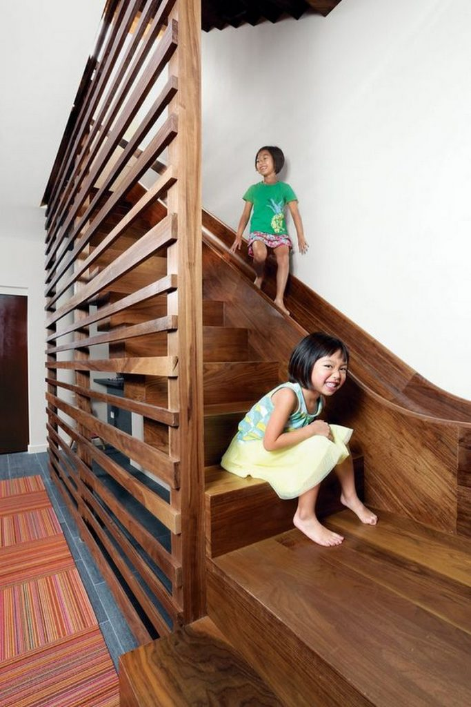 awesome stairs with slides the owner builder network. Black Bedroom Furniture Sets. Home Design Ideas