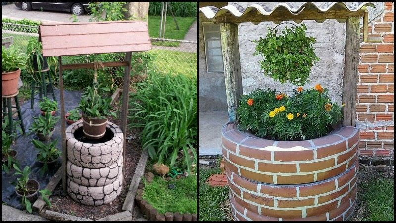 Wishing well planter made from recycled tires - Planters made from old tires ...